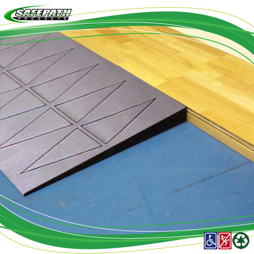 SafePath Products Installation Instructions - Ramps for Basketball courts ADA Compliance Ramps threshold ramps for wheelchair access Court Edge Reducer Ramp Drawings for ADA compliance. Rubber Transition ramps for wheelchair access. EZ Access